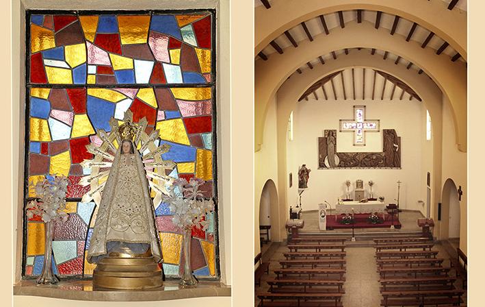 Virgen de Lujan e interior de Iglesia San Miguel y Santa Columba